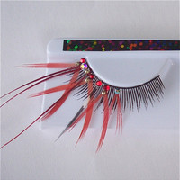 Long Red Burlesque Bride Feather Eyelashes