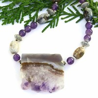 Amethyst Geode Pendant Necklace Handmade Agate Gemstone Beaded Jewelry