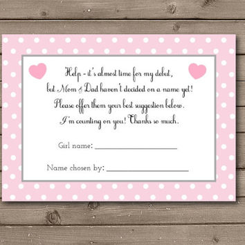 Girl Help Choose Baby's Name Cards Instant Download