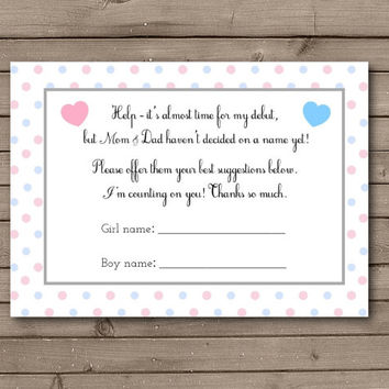 Gender Reveal Help Choose Baby's Name Cards Instant Download