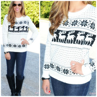 Frost Bite Ivory Fair Isle Reindeer Sweater