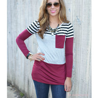 Stripe Out Colorblock Heather Grey Pocket Tunic