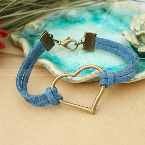Vintage blue bracelet- Antique bronze heart bracelet- True love will go on bracelet