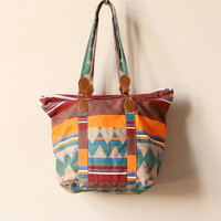Navajo Print Canvas Tote Bag, vintage 80s 90s Native American Southwestern oversized book satchel/purse