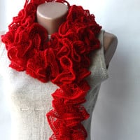 Red Knit Scarf Scarlet Dark Lipstic.. on Luulla