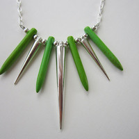 Green Howlite Dagger &amp; Silver Spike Necklace