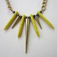 Phoenix Rising - Yellow Howlite Dagger &amp; Brass Spike Necklace