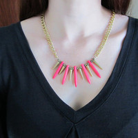 Sleeping Beauty - Neon Pink Howlite Dagger &amp; Brass Spike Necklace