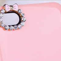 5PCS Pink bowknot alloy jewelry made for iphone 4 case materials accessories DIY Jewelry supplies