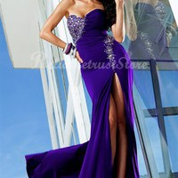 Gorgeous A-line Sweetheart Floor Length Chiffon Evening Dress-$168.97-ReliableTrustStore.com