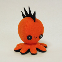 "SALE Orange mohawk octopus plushie - 4.5"" (40% off)"