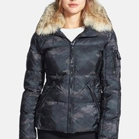 Women's SAM. 'Freestyle' Camo Goose Down Jacket with Genuine Coyote Fur Collar