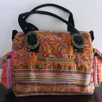 Shoulder Thai Handbag Tangerine Orange Vintage Fabric HMONG Hill Tribes -Tote Bag - Bohemian Style (502)