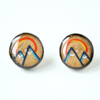 Painted Wooden Branch Slice Post Earrings in Navy Mountains