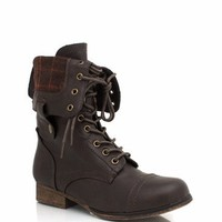 plaid-lining-combat-boots BLACK BROWN CHESTNUT - GoJane.com