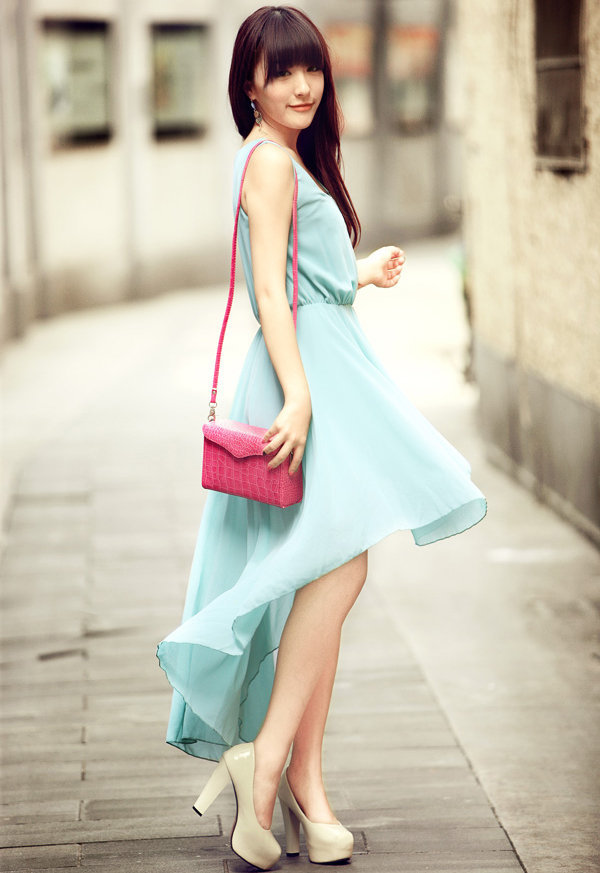 Asymmetric Pretty Blue Dress $45.00
