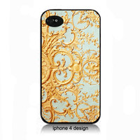 French Style Gold And Blue  Iphone 4/4s case, Iphone accessory cover