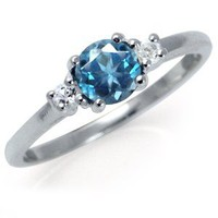 3-Stone Natural London Blue & White Topaz 925 Sterling Silver Ring RN0074231 SilverShake.com