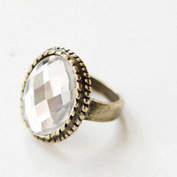Retro Bronze Exquisite Big Faceted Crystal Stone Oval Finger Ring