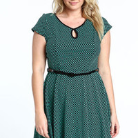Plus Size Dotted Dress With Belt - LoveCulture