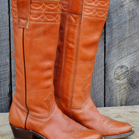 Stewart Cowboy Boots Vintage Leather Cinnamon Brown Women&#x27;s 6.5C