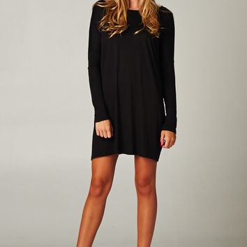 Solid Over Sized Tunic Dress in Black