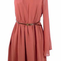 Women One Shouler Long Sleeve A Line Mini Length Wine Red Chiffon Dress S/M/L@II0082wr $16.99 only in eFexcity.com.