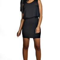 Grace Chiffon Frill Bodycon Dress