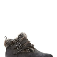 Buckled Faux Fur Booties