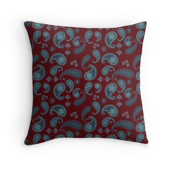 Paisley Floral Pattern Throw Pillow