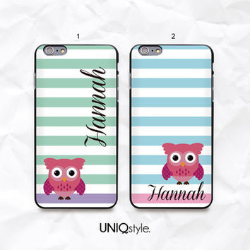 Cute Owl personalized custom monogram phone case with stripe for iPhone 6/4s/5/5s/5c, Samsung Note 4, Sony, LG Nexus, Nokia Lumia, HTC One, Moto - N56 from UNIQstyle
