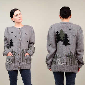 Handmade 70s 80s Gray Scenic Austrian Woodland Cardigan Embroidered Mohair Wool Knit Novelty Sweater Puff Sleeve Jacket S M