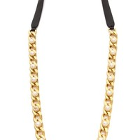 Tory Burch Winchel Chain Leather Necklace