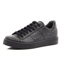 River Island Womens Black mock croc lace up plimsoll