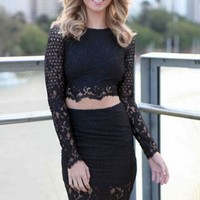 Black Paisley Patterned Lace Skirt Set - OASAP.com