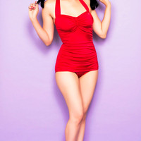 BEST SELLER! Vintage Inspired Swimsuit 50's Style Pin Up Solid Red Bathing Suit - 6 to 16 - Unique Vintage - Homecoming Dresses, Pinup & Prom Dresses.