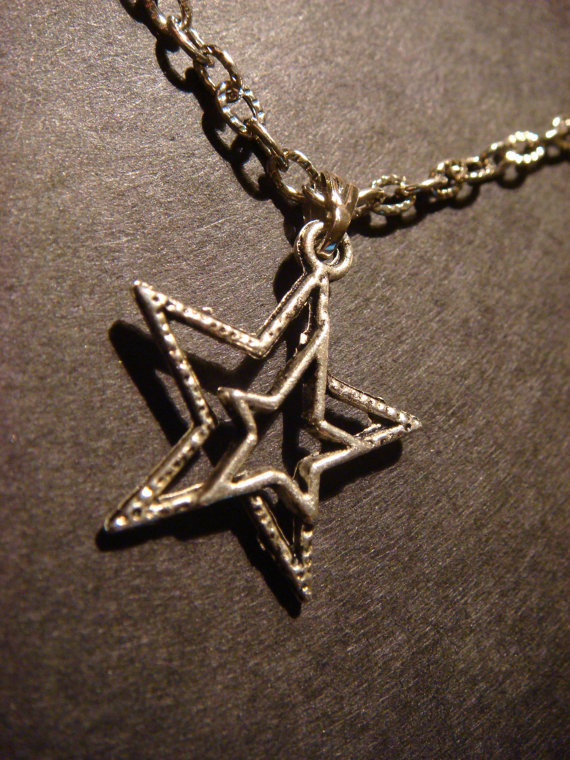 Antique Silver Double Star Necklace
