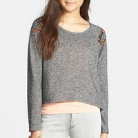 Junior Women's Paper Crane Print Back Crop Sweater