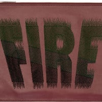 Burgundy Leather Embroidered 'Fire' Clutch42387F067006