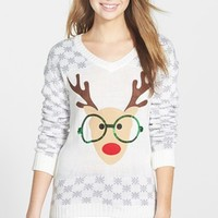 Derek Heart Reindeer Sequin Sweater (Juniors)