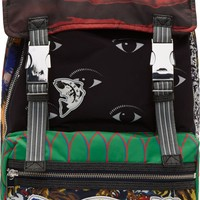 Green Multicolor Mixed Signature Print Backpack42387F063003