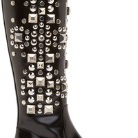 Black Studded Leather Babies Boots42418F128024