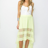 HIGH LOW CONTRAST LAST SKIRT - Lime