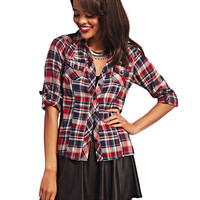 Plaid Flannel Roll-Sleeve Shirt | Wet Seal