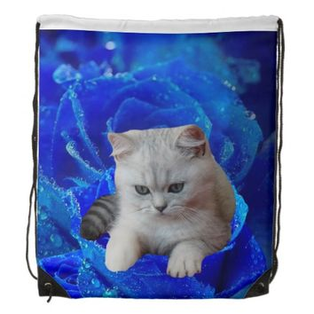 Cat and Blue Rose Drawstring Backpack
