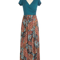 ModCloth Boho Long Short Sleeves Maxi Sing-along With Me Dress in Paisley