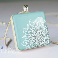 flower necklace pendant,jewelry,art scrabble tile pendant- T0121SI