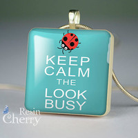 art scrabble tile pendant,necklace pendants,quotes jewelry,keep calm the look busy- P0751SI