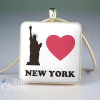 phrase necklace pendants,scrabble tile pendant,I love new york- P0334SI