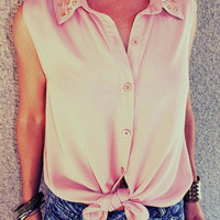 Studded Collar &#x27;Lizzie&#x27; Blouse